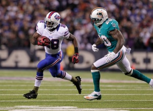 Buffalo Bills' C.J. Spiller (28) runs against Miami Dolphins' Reshad Jones (20) during the first half of an NFL football game Thursday, Nov. 15, 2012 in Orchard Park, N.Y.