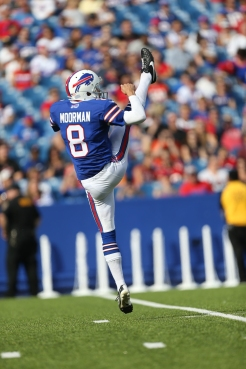 Buffalo Bills punter Brian Moorman (8) punts the ball during a preseason NFL football game against the Tampa Bay Buccaneers, Saturday, August 23, 2014 in Orchard Park, NY. The Buccaneers won the game xx-xx. (AP Photo/Paul Jasienski)