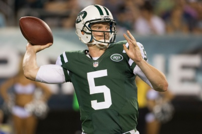 New York Jets' Matt Simms in action during the first half of an NFL preseason football game against the Philadelphia Eagles, Thursday, Aug. 28, 2014, in Philadelphia. The Eagles won 37-7. (AP Photo/Chris Szagola)
