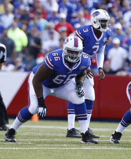 Buffalo Bills tackle Seantrel Henderson (66) blocks against the San Diego Chargers during the second half of an NFL football game Sunday, Sept. 21, 2014, in Orchard Park, N.Y. (AP Photo/Bill Wippert)